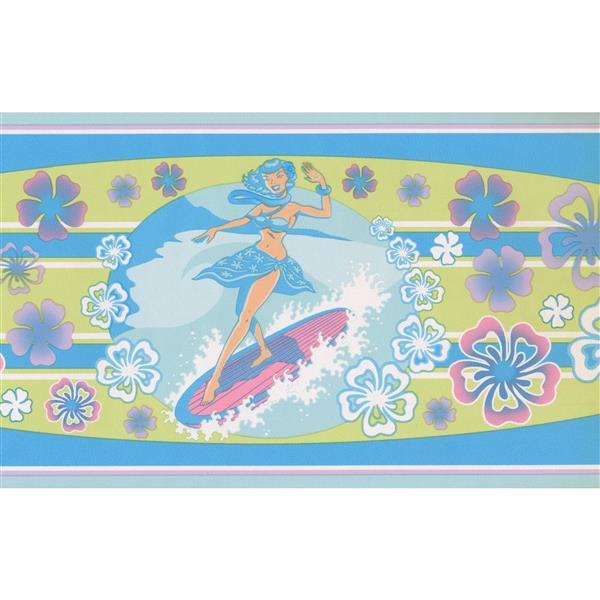 Norwall Windsurfing Woman Wallpaper Border - 15' x 6.75-in- Blue