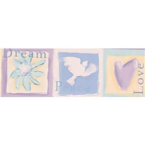 Dove Heart Flower Wallpaper Border - 15' x 4.67