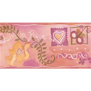 "Chesapeake Hearts Peace Flowers Wallpaper Border - 15' x 5.5"" - Pink"