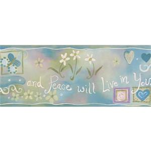 "Chesapeake Hearts Peace Flowers Wallpaper Border - 15' x 5.25"" - Green"