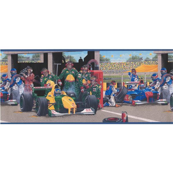 """Retro Art Race Track Wallpaper Border - 15' x 10.25"""" - Multicolour"""