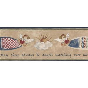 "Retro Art Angels in the Sky Wallpaper Border - 15' x 5.25"" - Beige"