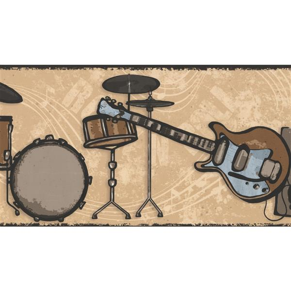 York Wallcoverings Drums Guitar Loudspeaker Wallpaper Border - 15-ft x 7-in - Brown