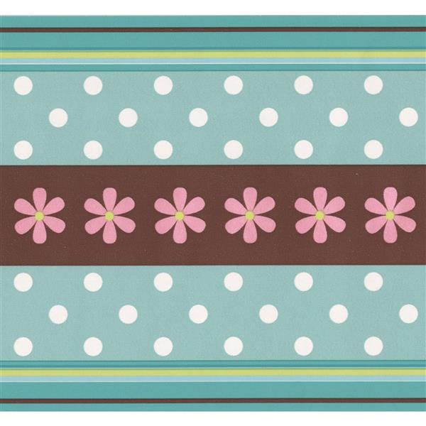 York Wallcoverings Dots and Flowers Wallpaper Border - 15-ft x 6.25-in - Green