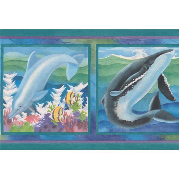 "Retro Art Dolphin Wallpaper Border - 15' x 7"" - Green"