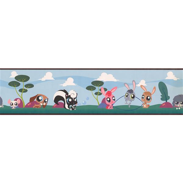 York Wallcoverings Big Eye Cartoon Animals Wallpaper Border - 15-ft x 6-in - Blue