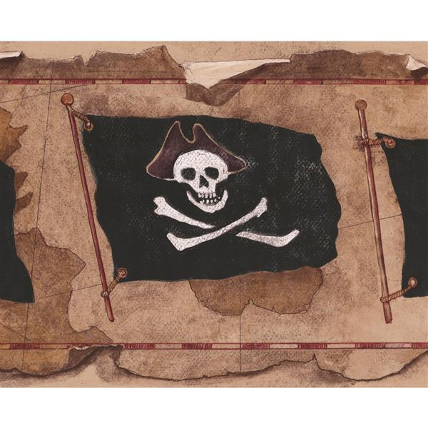 York Wallcoverings Jolly Roger Flags Wallpaper Border - 15-ft x 9-in - Brown