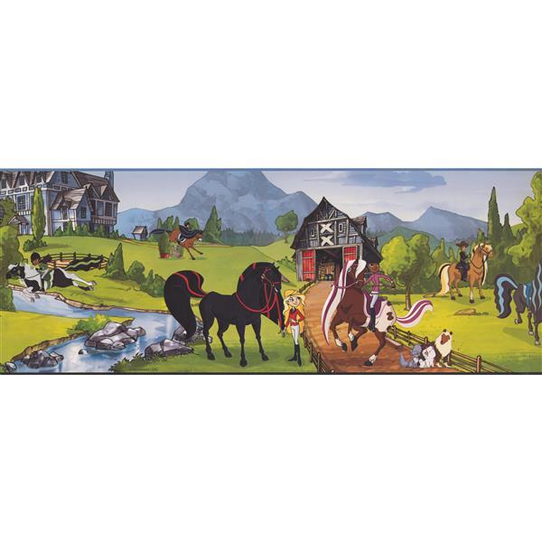 York Wallcoverings Horseland Cartoon Wallpaper Border - 15-ft x 9-in - Multicolour