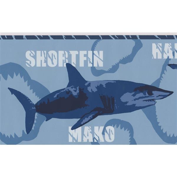 York Wallcoverings Various Shark Species Wallpaper Border 15 Ft X 7 In Blue Rona