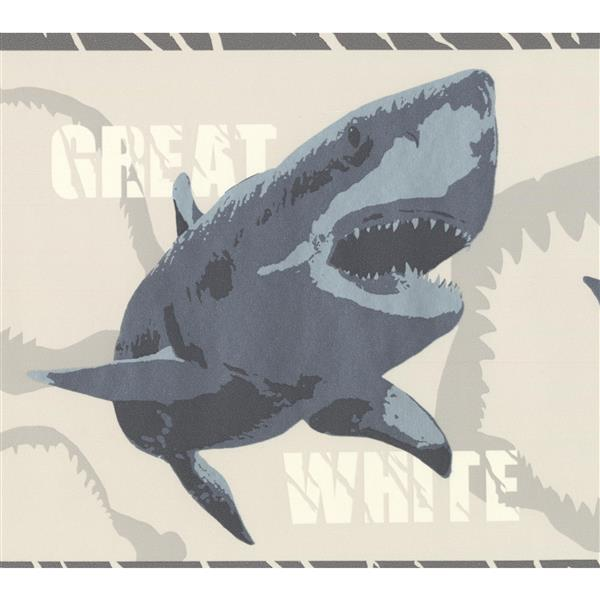 York Wallcoverings Various Shark Species Wallpaper Border 15 Ft X 7 In Gray Rona