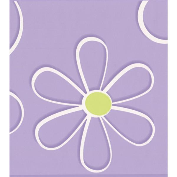 York Wallcoverings Abstract Flower Drawing Wallpaper Border - 15-ft x 9-in - Purple