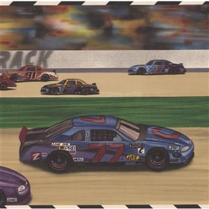 "Retro Art Race Cars Wallpaper Border - 15' x 9"" - Multicolour"