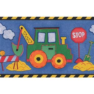 "Retro Art Tractor Excavator Truck Wallpaper Border - 15' x 6"" - Blue"