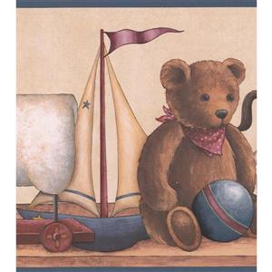 "Retro Art Teddy Bear Wallpaper Border - 15' x 8.5"" - Beige"