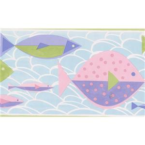 Norwall Kids Fish Wallpaper Border - 15' x 7-in- Multicolour