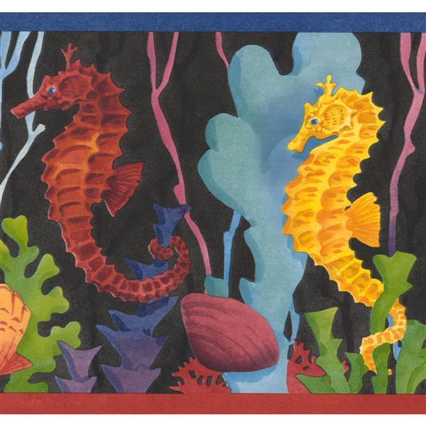 "Retro Art Seahorse Baby Wallpaper Border - 15' x 7"" - Multicolour"