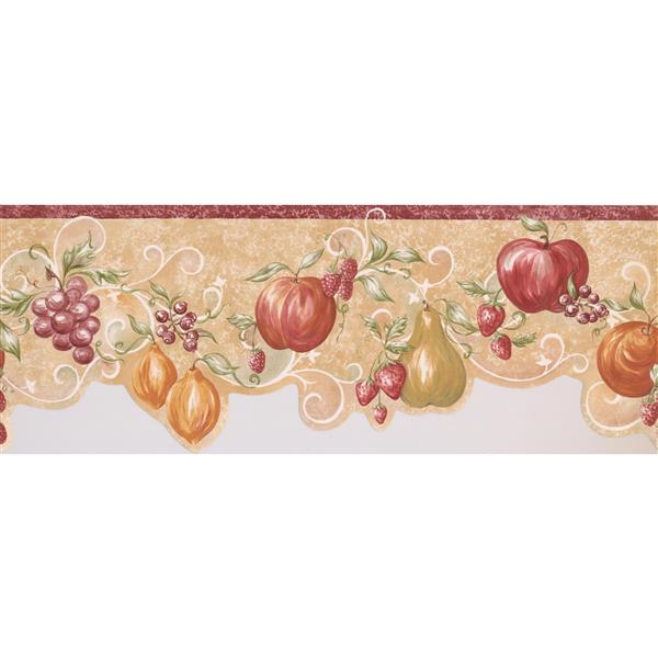 "Retro Art Berries Wallpaper Border - 15' x 9"" - Beige"