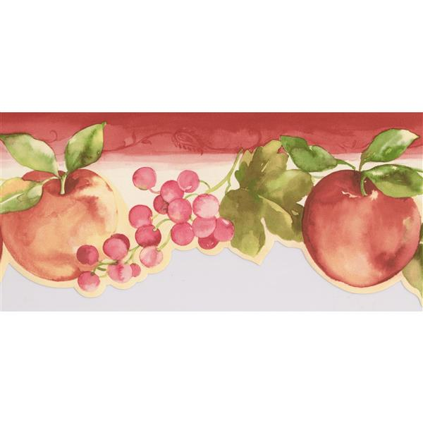 Norwall Apples and Berries Wallpaper Border - 15' x 5.25-in- Red