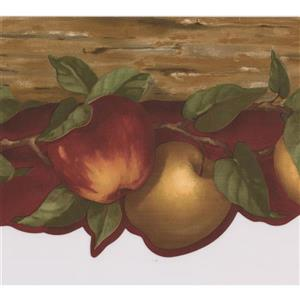 Norwall Apples on Vine Wallpaper Border - 15' x 6.75-in- Red