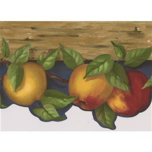 Norwall Apples on Vine Wallpaper Border - 15' x 6.75-in- Blue
