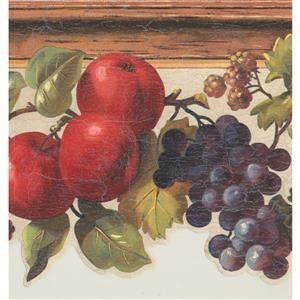 York Wallcoverings Apples Grapes Berries Wallpaper Border - 15-ft x 9-in - Gray