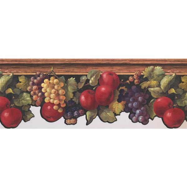 York Wallcoverings Apples Grapes Berries Wallpaper Border - 15-ft x 9-in