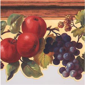 York Wallcoverings Apples Grapes Berries Wallpaper Border - 15-ft x 9-in
