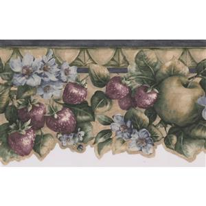 Norwall Apple Cherry Strawberry Wallpaper Border - 15' - Blue