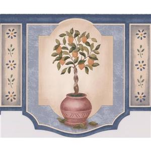 Retro Art Fruit Trees in pots Wallpaper Border - 15' x 6.5""