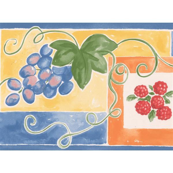 """Retro Art Grapes Strawberry Wallpaper Border - 15' x 7"""" - Multicolour"""