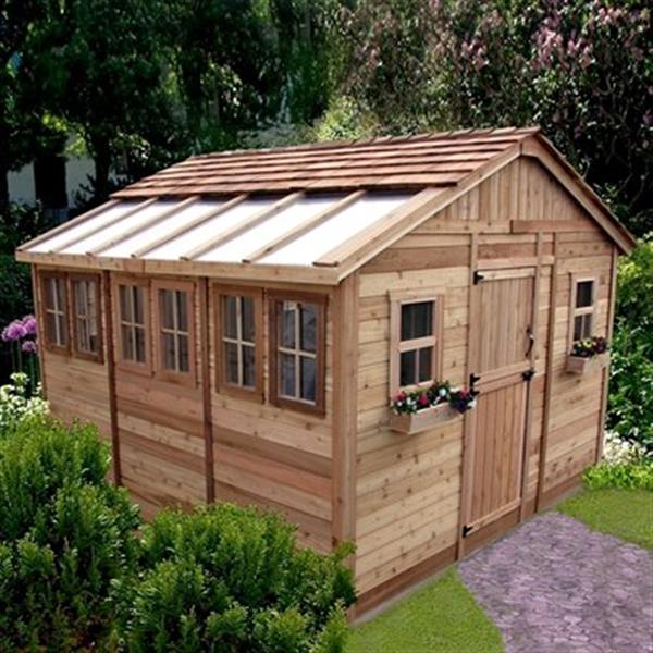 Outdoor Living Today 12-ft x 12-ft Cedar Sunshed Garden ... on Outdoor Living Today Sunshed id=15857