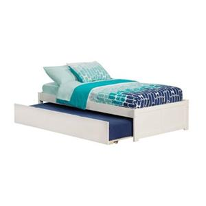 Atlantic Furniture Concord Twin Platform Bed with Flat Panel Foot Board and Twin Size Urban Trundle Bed in White