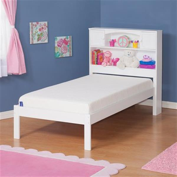 Atlantic Furniture Newport Twin Platform Bed with Open Foot Board in White