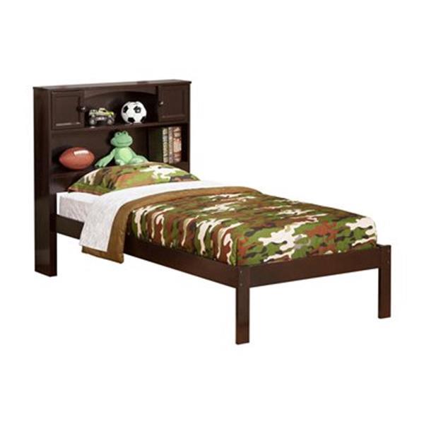 Atlantic Furniture Newport Twin Platform Bed with Open Foot Board in Walnut
