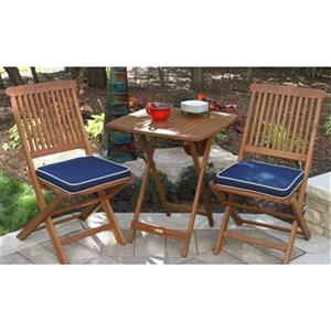 Outdoor Interiors 3-Piece Square Outdoor Bistro Set,S60040BL