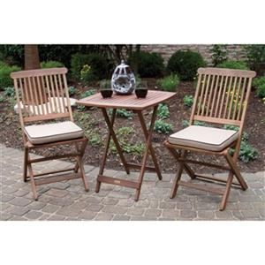 Outdoor Interiors 3-Piece Square Outdoor Bistro Set,S60040