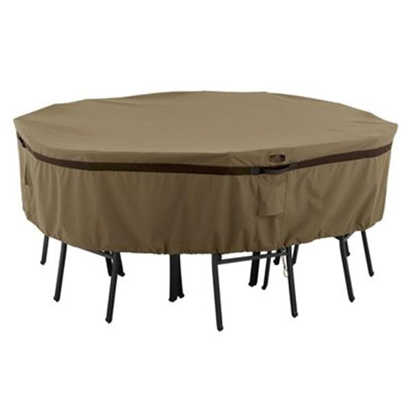 Classic Accessories 55-21 Hickory Round Patio Table and Chai