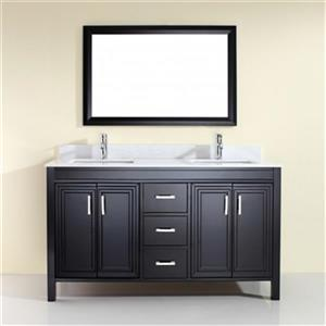"Spa Bathe Cora Double Sink Vanity - 3 Drawers - 60"" - Espresso"