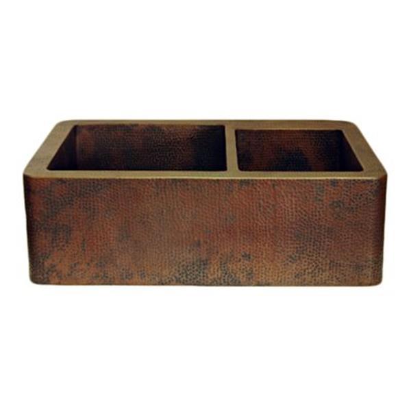 Novatto Farmhouse 60/40 Split Copper Kitchen Sink,TCK-005AN