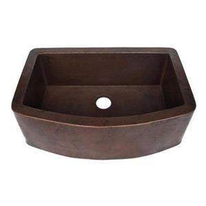 Novatto Redondeado Curved Farmhouse Copper Kitchen Sink,TCK-