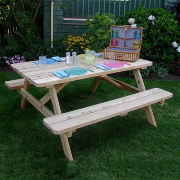 Outdoor Living Today PIC65 Cedar Picnic Table-PIC65