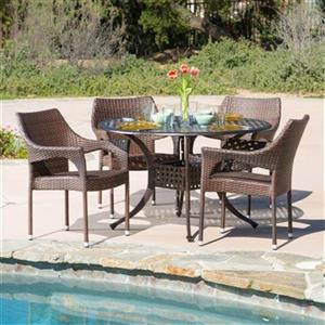 Best Selling Home Decor Cliff 5-Piece Round Outdoor Dining S