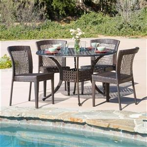 Best Selling Home Decor Dusk 5-Piece Round Outdoor Dining Se