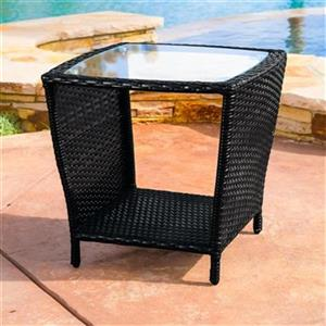 Best Selling Home Decor Weston Outdoor Wicker Glass Top Tabl