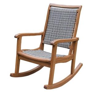 Outdoor Interiors Resin Wicker and Eucalyptus Rocking Chair,