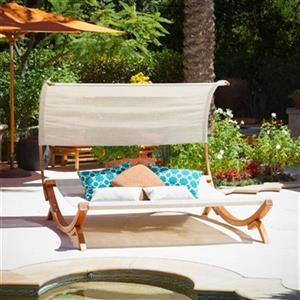 Best Selling Home Decor Carlsbad Outdoor Wood Sunbed with Ca