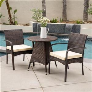Best Selling Home Decor Coronado 3-Piece Round Outdoor Wicke