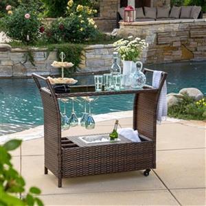 Best Selling Home Decor Tulum Outdoor Wicker Bar Cart,295803