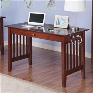 Atlantic Furniture Mission Desk with Drawer and Charging Station in Walnut