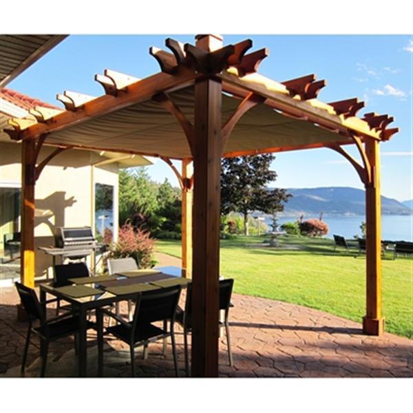 Pergola Breeze avec toit rétractable, 8\'x10\', cèdre naturel